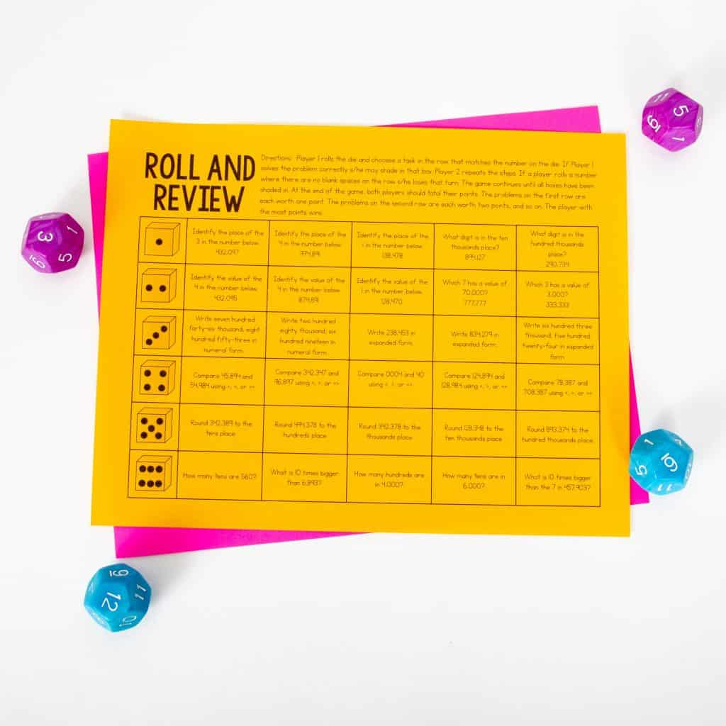 Roll and Review Worksheet
