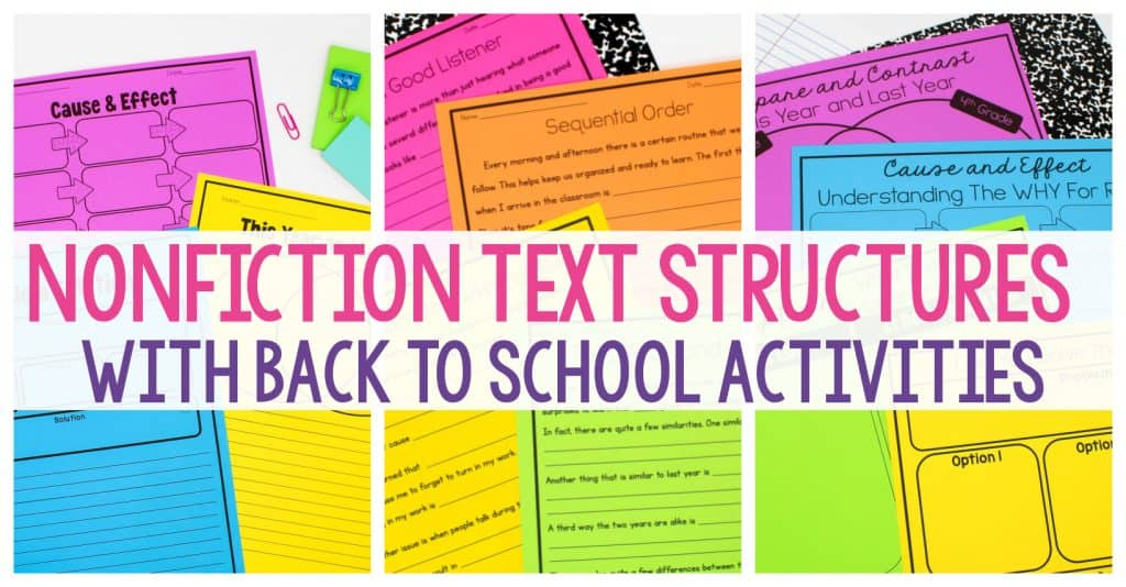 Nonfiction Text Structures With Back to School Activities text over brightly-colored worksheets.